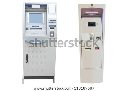 cash dispensers against the white background - stock photo