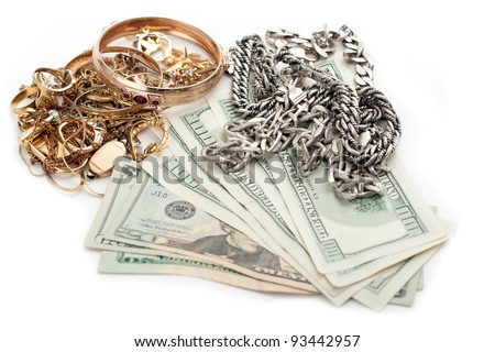 cash dollar for gold and silver scrap - stock photo