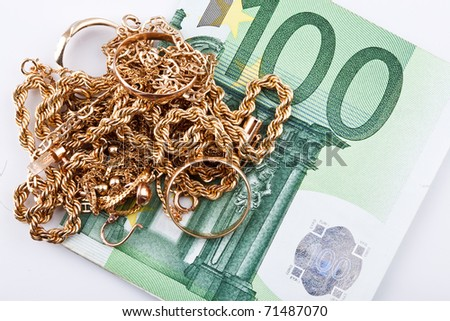 cash euro  for gold - stock photo