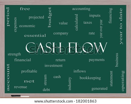 Cash Flow Word Cloud Concept on a Blackboard with great terms such as return, investment, payments and more. - stock photo