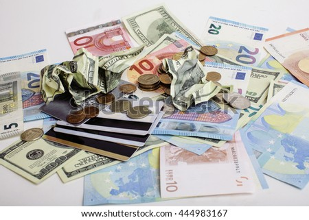 Cash on table isolated: dollars, euro, rubl broken money. All in mess, global crisis concept - stock photo