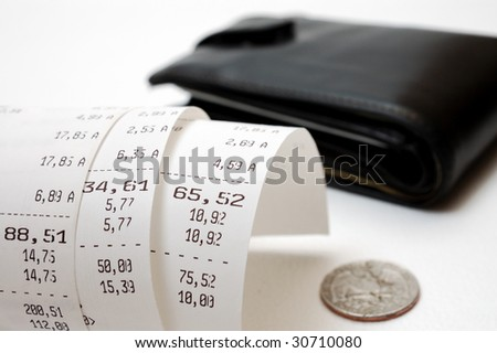Cash receipt illustrating the spent money - stock photo