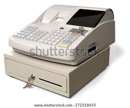 Cash Register, Coin, Cash Box. - stock photo