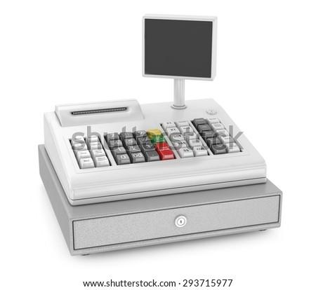 Cash register isolated on white - stock photo