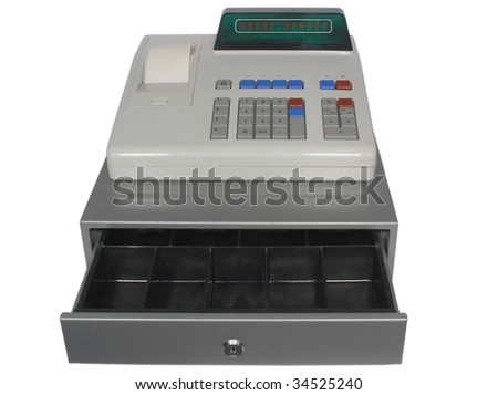 Cash register on a white background. Drawer is open and empty. - stock photo