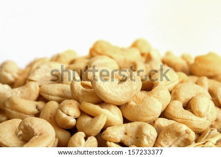 Cashew nut on white background - stock photo
