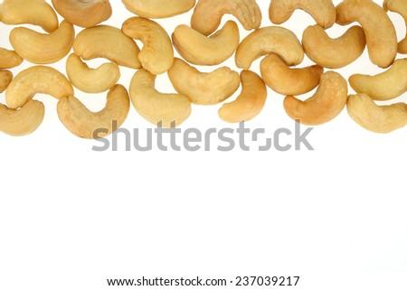 Cashew nuts isolated on white background - stock photo