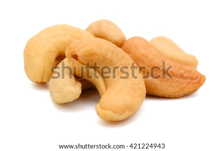 cashew nuts on white background  - stock photo