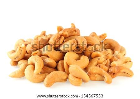 cashew on white background - stock photo