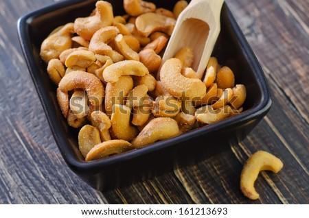 cashew with salt - stock photo