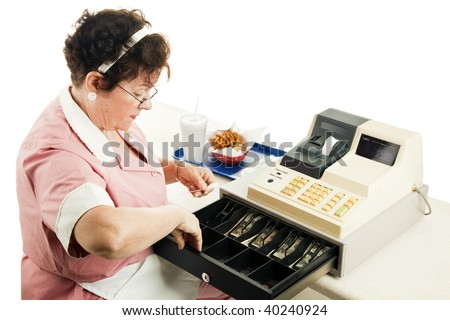 Cashier at a fast food restaurant, making change from her cash register.  White background. - stock photo