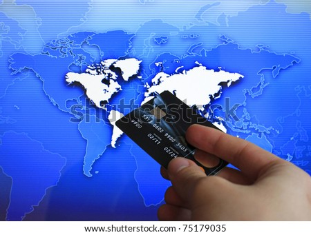 cashless pay, blue business background - stock photo