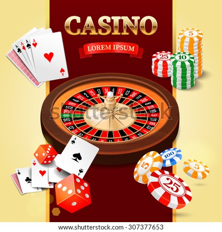 Casino background with roulette wheel, chips, game cards and craps. Rasterized Copy - stock photo