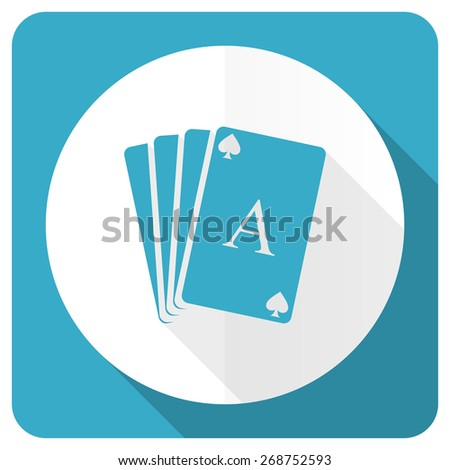 casino blue flat icon hazard sign  - stock photo