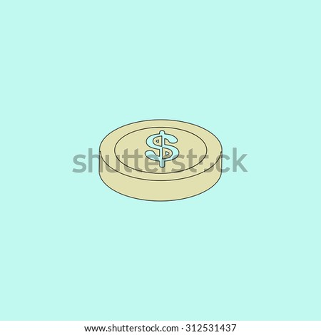 Casino chip. Flat simple line icon. Retro color modern illustration pictogram. Collection concept symbol for infographic project and logo - stock photo