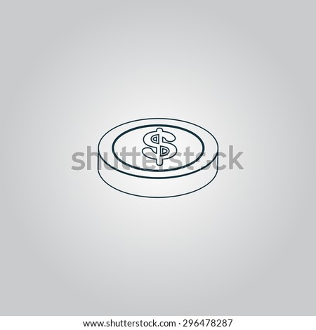 casino chip. Flat web icon or sign isolated on grey background. Collection modern trend concept design style  illustration symbol - stock photo
