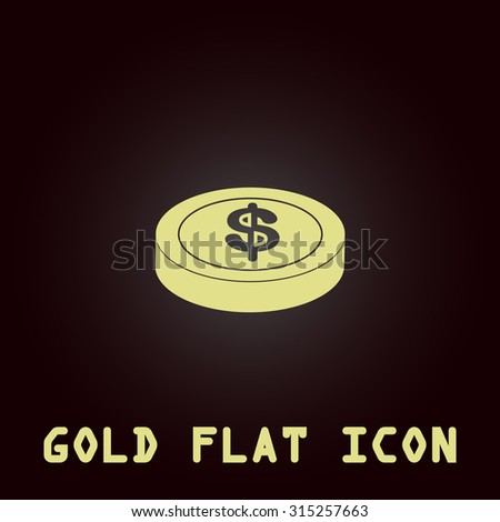 Casino chip. Gold flat icon. Symbol for web and mobile applications for use as logo, pictogram, infographic element - stock photo