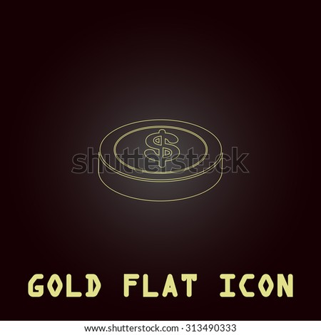 Casino chip. Outline gold flat pictogram on dark background with simple text. Illustration trend icon - stock photo