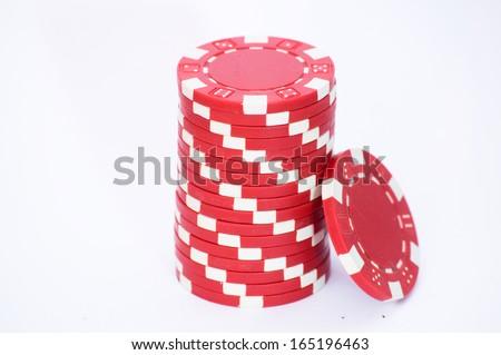Casino chip stacks isolated on white/Casino chip stacks - stock photo