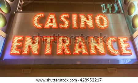 Casino entrance at evening time - stock photo