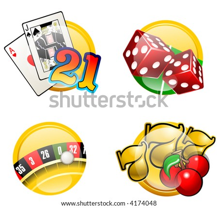 Casino games icons: Craps, BlackJack, Slots and Roulette - stock photo