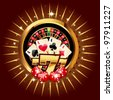 casino gold-framed composition with roulette wheel. - stock photo