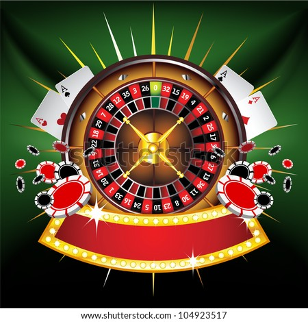 Casino gold-framed composition with roulette wheel on green background - stock photo