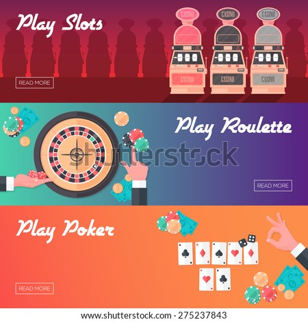 Casino Horizontal Banner Set (Slot Machine, Poker and Roulette). Flat Style. Clean Design. Raster Copy. - stock photo