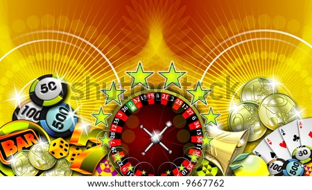 casino illustration with roulette and other game elements - stock photo