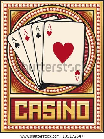 casino label design (four aces) - stock photo