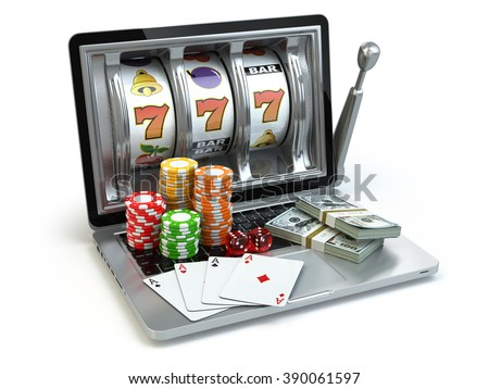 Casino online concept, gambling. Laptop slot machine with dice, cards and packs of dollar. 3d - stock photo