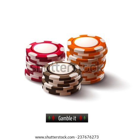 Casino roulette gambling realistic chip stacks isolated on white background  illustration - stock photo