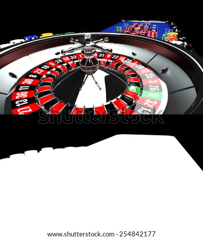 Casino Roulette Table with Chips - stock photo