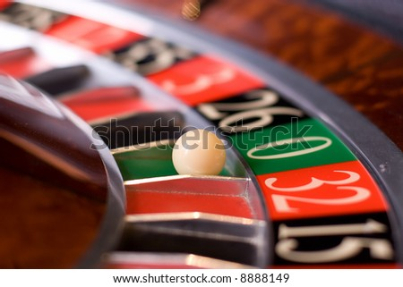 Casino roulette, zero wins - stock photo