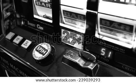 Casino slot machine closeup - stock photo