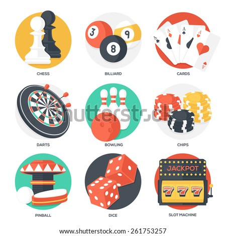 Casino Sport and Leisure Games Icons (Chess, Billiard, Poker, Darts, Bowling, Gambling Chips, Pinball, Dice and Slot Machine). Flat Style. Clean Design. Raster Copy. - stock photo