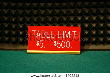 Casino table limit sign at a craps table showing a five to five hundred dollar limit - stock photo