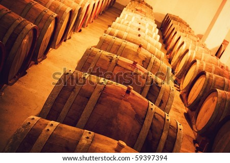 Casks in wine cellar - stock photo