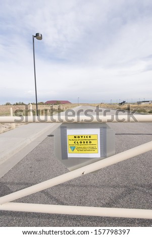 CASPER, WY- OCTOBER 10: The National Historic Trails Interpretive Center shows a CLOSED NOTICE due to government shutdown. This is Day 10 of the government shutdown on October 10, 2013. - stock photo
