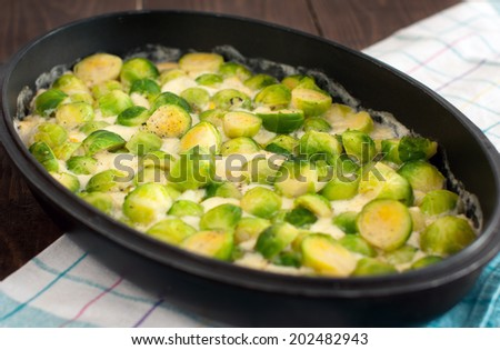 casserole with brussels sprouts and cheese - stock photo