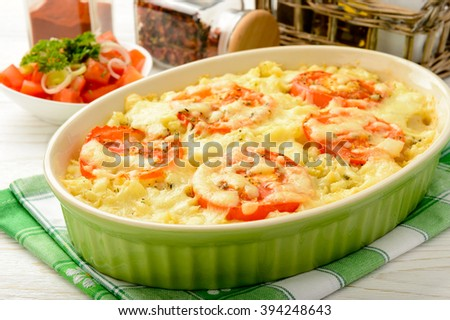 Casserole with minced meat, vegetables and cheese. - stock photo