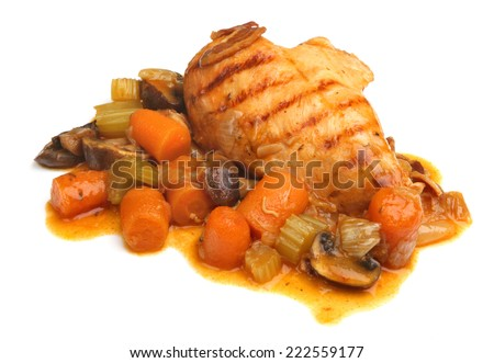 Casseroled chicken breast on white background - stock photo