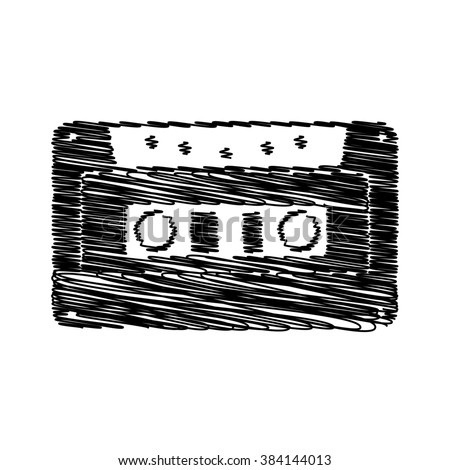 Cassette icon, audio tape sign. Flat style icon with scribble effect - stock photo
