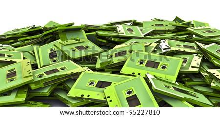Cassette pile - stock photo