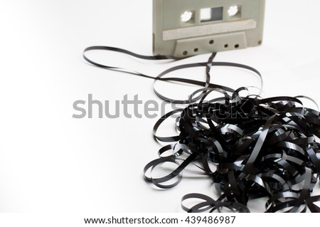 cassette tape too old vintage now can made the art from this. - stock photo