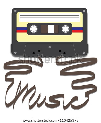 Cassette tape with tape pulled out to spell ??Music - stock photo