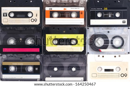 Cassette tapes background - stock photo