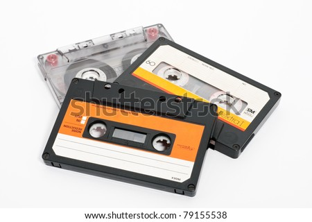 Cassettes tape isolated on a white background - stock photo