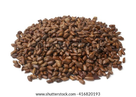 Cassia tora beans on white background - stock photo