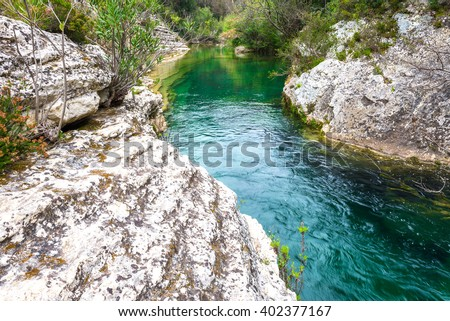 Cassibile River in Cavagrande del Cassibile natural reserve, Sicily (Italy) - stock photo